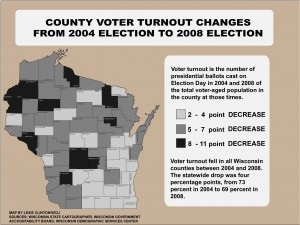 Click for a full-size map of voter turnout changes between the 2004 and 2008 elections