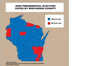 Click for full-size map for Wisconsin statewide vote for election 2008