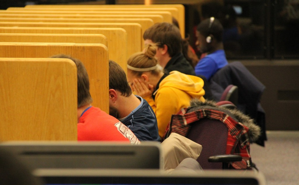 Students studying at College Library, UW-Madison