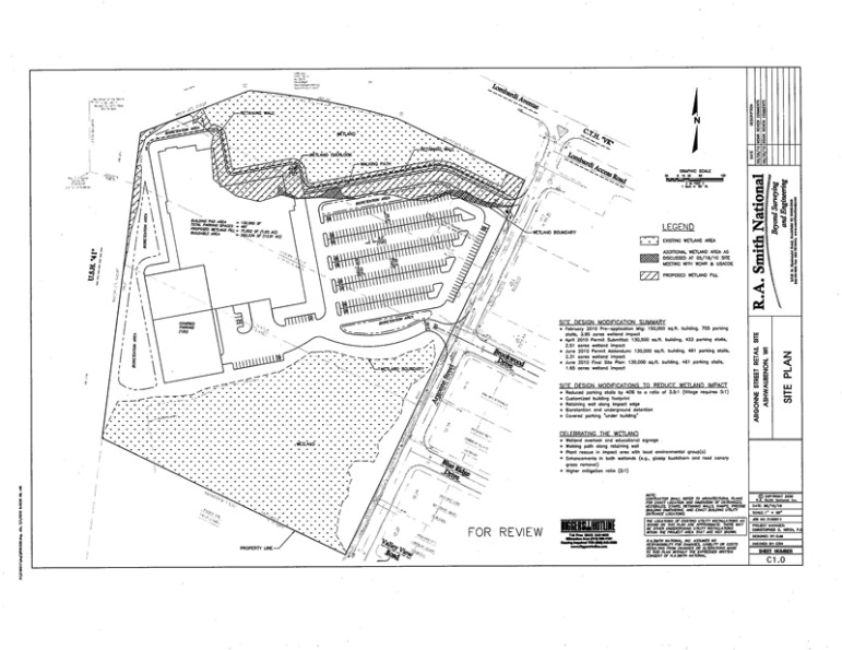 "This site plan, approved by DNR in 2010, would fill 1.65 of 11 acres of wetland on the north side of the structure. Legislators exempted ""less than three acres"" of the site from wetlands laws, allowing the developer to escape a contested case hearing."