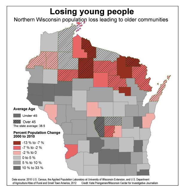 Maps How Wisconsin S Population Is Shifting Away From Rural Areas By County Wisconsinwatch Org