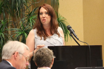 Melissa Smith, organizer of Friends of the Wisconsin Wolf, testified against increasing the quota for wolf hunting at a June 26 meeting of the Natural Resources Board in Wausau.