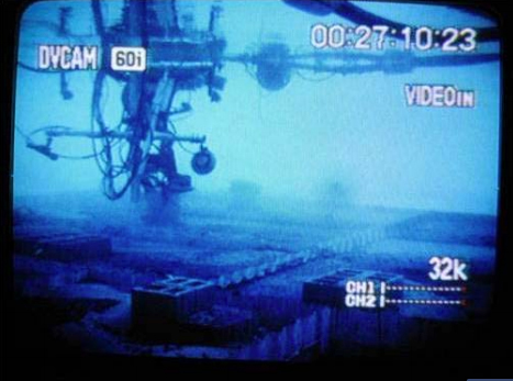 A view from the camera of a manned submersible designed to recover heavy oil by Marine Pollution Control. Photo excerpted from USCG report CG-D-09-13, June 2013