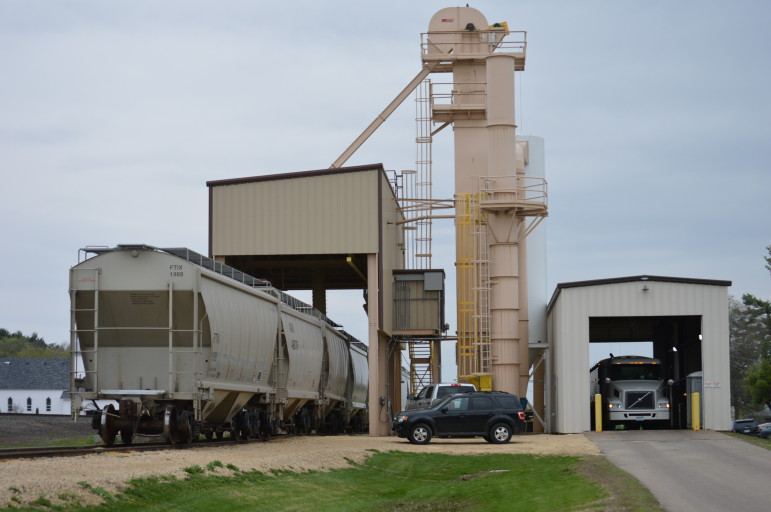 This is a rail load-out facility in Wheeler. Despite being located just over 15 miles away from the Fairmount Minerals plant in Menomonie, trucking sand to the facility is still the most economical option, says Rich Budinger, regional manager for the company.