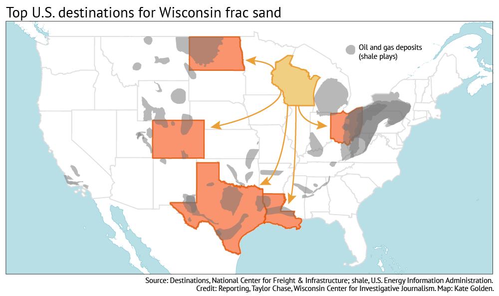 Map: Frac sand destinations