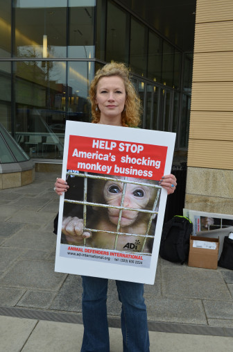 """Alexa McCormack is the executive director of the Alliance for Animals and the Environment, a Madison-based nonprofit. """"We do not think that animals are ours to experiment on,"""" says McCormack during a May protest outside the Wisconsin Institutes for Discovery building. """"It's easy for us to forget their place in our world."""""""