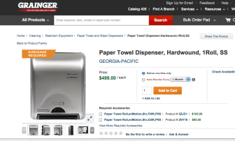 "This page from the Grainger office supply page lists the towel dispensers at $499 and says ""Sublease required."""