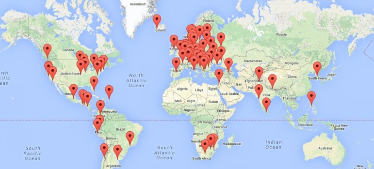 The Global Investigative Journalism Network, at gijn.org, comprises 108 members in 46 countries, as of October 2, 2014.