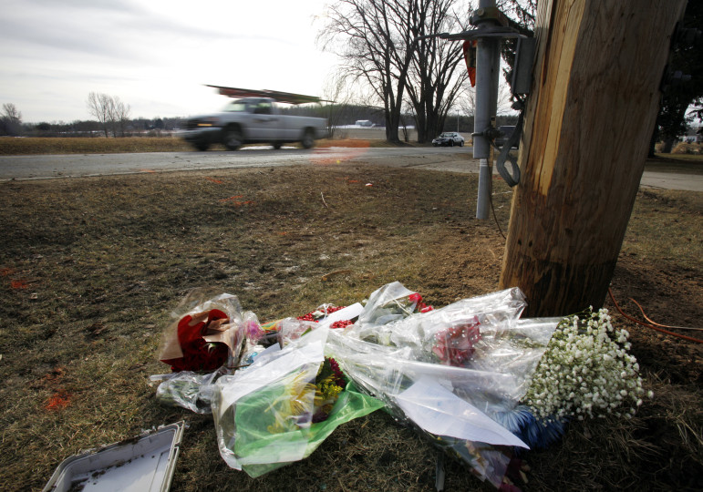 A memorial commemorating  the lives of four people killed by a drunken driver sits at the scene of the crash in Fitchburg, Wis.. The driver, Victor Benitez, was sentenced to 32 years in prison. In 2013, there were 4,954 alcohol-related crashes in Wisconsin, leading to 185 deaths and 2,660 injuries.
