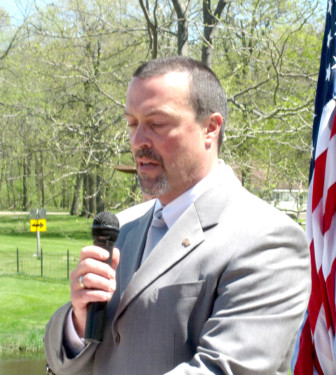"""Waupun Warden William Pollard, at a Memorial Day event. Pollard, the co-chair of a DOC workgroup looking at changing how the state uses solitary confinement, warned in one email """"we may get sued."""""""