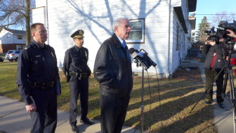 "Milwaukee Mayor Tom Barrett at a Dec. 28 news conference regarding the shooting death of Bill Thao, a 13-month-old. He decried those responsible for firing bullets into a house as having ""no moral compass."""