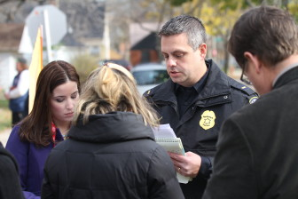 Lt. Mark Stanmeyer talks with reporters at a press conference the day after Laylah Petersen was killed.
