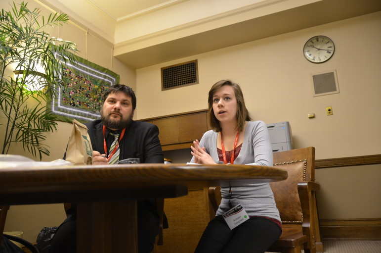 Neil Klemme, a youth development agent with the University of Wisconsin-Extension in Iron County; and Autumn Campbell, a high school student from Douglas County, discuss the quality of forestry and timber jobs in northern Wisconsin with staff of Rep. David Bowen (D-Milwaukee) and Rep. Jonathan Brostoff (D-Milwaukee). Klemme and Campbell participated in Superior Days, which brought northern Wisconsin citizens to the Capitol in February to lobby state legislators.