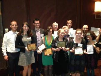 Eric Fuhrmann, Lauren Fuhrmann, Wesley Brooks, Kate Golden, Andy Hall, Dee Hall, Bill Lueders, Sean Kirkby, Alison Dirr, Noah Phillips and Heather Rosenfeld at the Milwaukee Press Club Awards May 15, 2015. The Center won seven awards this year, including best website design.