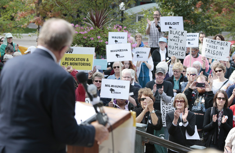 The Rev. Jerry Hancock of First Congregational United Church of Christ in Madison tells a crowd at the state Capitol in October that solitary confinement is torturous, costly and ineffective. The rally was organized by Wisdom, a faith-based group that has been pushing to eliminate solitary confinement. Wisconsin is one of 10 states that is cutting back on use of isolation to punish prisoners.