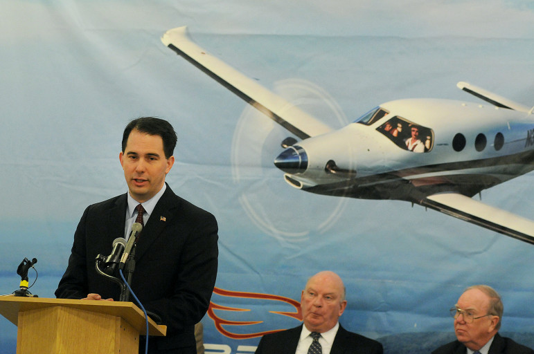 Gov. Scott Walker announces up to $20 million in state subsidies in 2012 for Kestrel Aircraft, which has promised to bring more than 600 jobs to Superior. Three and a half years later, the company, which received state assistance without a full financial review, has created just a few dozen jobs. Kestrel had also promised to bring hundreds of jobs to Brunswick, Maine, before moving its headquarters to Wisconsin in 2012.