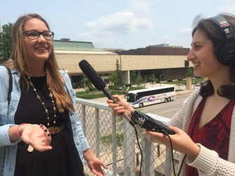 During a staff training on audio recording, reporting intern Haley Henschel explains to Tara Golshan what she had for breakfast.