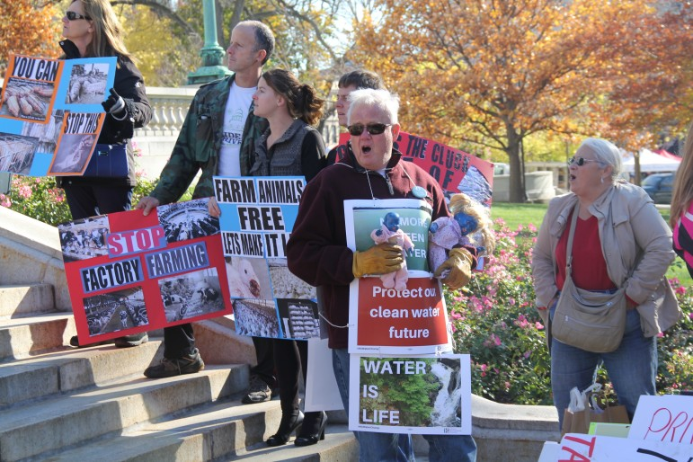 "Dick Swanson of Algoma carries dolls painted blue to highlight ""blue baby syndrome,"" a condition caused when infants drink water polluted by nitrate. Swanson, a member of the advocacy group Kewaunee Cares, attended a ""stink-in"" with about 50 others on the steps of the Wisconsin State Capitol on Nov. 7 to protest pollution from concentrated animal feeding operations. Activists blame large-scale farming operations for contaminating drinking water in Kewaunee County and elsewhere."