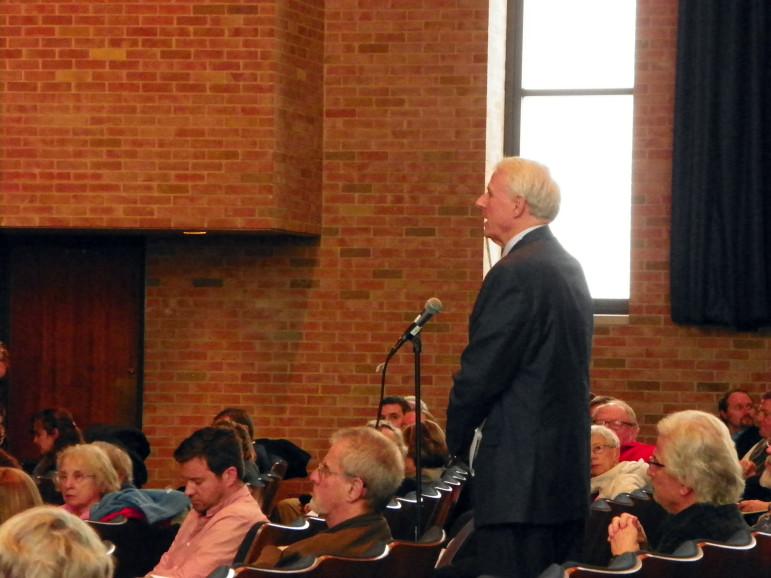 Milwaukee Mayor Tom Barrett speaks at a public hearing in Waukesha in February about Waukesha's proposal to use Lake Michigan water to replace radium-tainted groundwater. Governors of eight Great Lakes states must approve the controversial proposal. Barrett said Milwaukee would consider selling water to Waukesha but only if it confines its water service area to the Waukesha city limits.