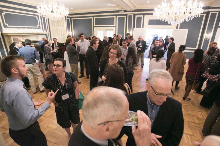 Journalists, members of the public and champions of public records laws mingle during the cocktail hour at Wednesday night's Wisconsin Watchdog Awards. The event celebrated the investigative journalism and citizen activism that led to victories in open government during the past year.