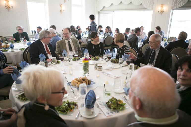 Attendees gather for dinner Wednesday night at the sixth annual Wisconsin Watchdog Awards in Madison. Attorney Robert J. Dreps, recipient of the 2016 Distinguished Wisconsin Watchdog Award, gave the keynote address at the event, which celebrated achievements in investigative journalism, citizen activism and open government in Wisconsin.