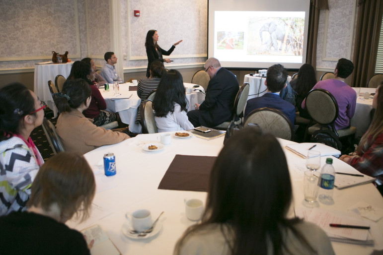 Coburn Dukehart, digital and multimedia director of the Wisconsin Center for Investigative Journalism, gives a presentation on using multimedia in investigative journalism to student reporters and young professional journalists Wednesday afternoon before the Wisconsin Watchdog Awards.