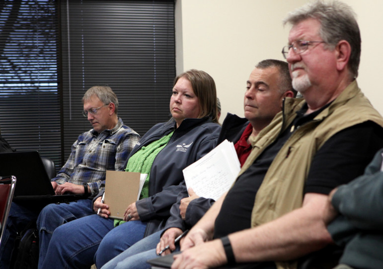 Attending a meeting of the Clayton County committee April 28 to consider the proposed expansion of Pattison Sand Co.'s Iowa mine are, from left, company manager and owner Kyle Pattison, company spokeswoman Angela Sessions, environmental compliance manager John Hendrix and health and safety director Tim Adkins.