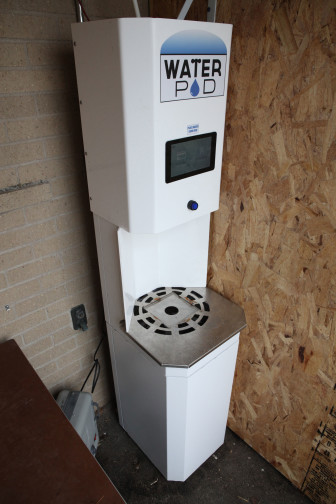 A clean water kiosk is seen in a shed located outside of the Algoma High School. The water access point was donated by Stonehouse Water Technologies of Milwaukee, and provides clean drinking water to registered Kewaunee County residents. Algoma's school superintendentNick Cochart says the kiosk has been vandalized three times since its installation in January 2016.