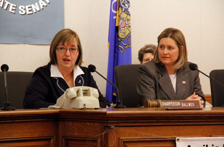 State Rep. Joan Ballweg, R-Markesan, and state Sen. Julie Lassa, D-Stevens Point, speak at meeting of the bipartisan Legislative Children's Caucus, in Madison, Wis. on April 12, 2016. Members formed the group to push for policies that benefit Wisconsin's children.