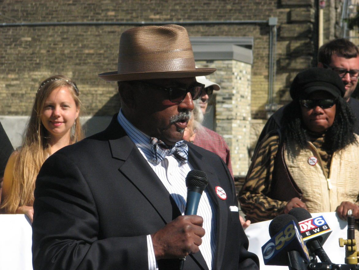 Fred Royal, president of the Milwaukee chapter of the NAACP, speaks at a rally in 2015. Royal spoke at a symposium at Marquette University Sept. 7, challenging Milwaukee Mayor Tom Barrett to take strong action to reduce the danger of lead in the city's drinking water.