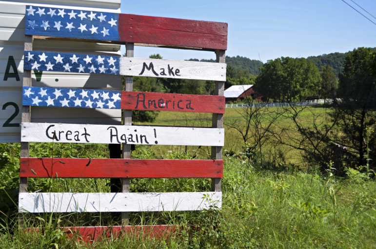 This handmade sign, made from a wooden pallet, declares support for Donald Trump in Clay County, Tenn. The area's poor economy is leading some of its traditionally Democratic residents to support the Republican billionaire businessman, who has promised to turn around the U.S. economy.