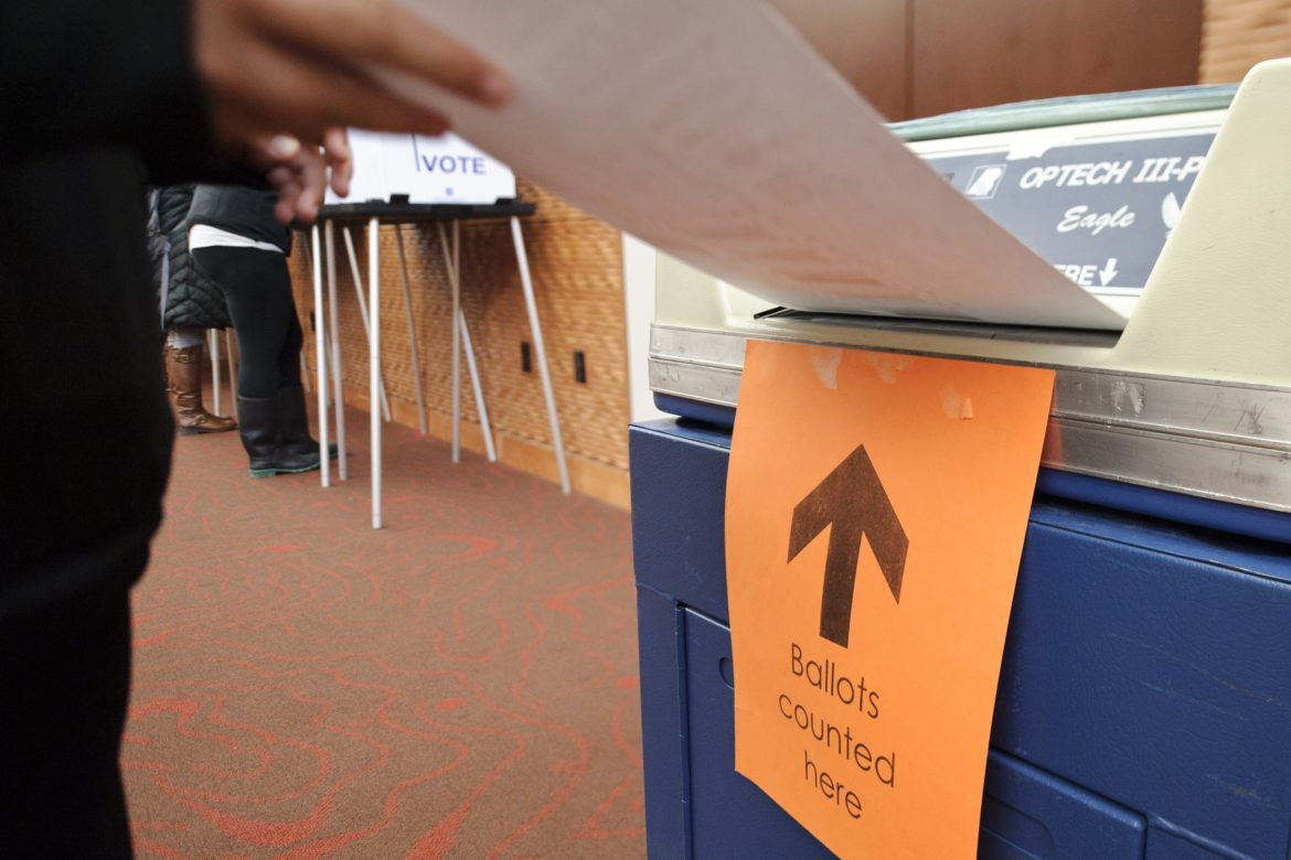 Wisconsin college students will be required to show specific forms of photo identification on Nov. 8. Here, students voted in the last presidential election in 2012 at Gordon Dining and Events Center on the University of Wisconsin-Madison campus on Nov. 6, 2012.