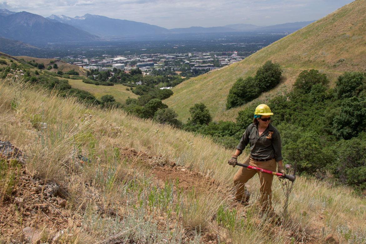 Danielle Nives, 21, helps maintain Utah's Bonneville Shoreline Trail as part of the Utah Conservation Corps, an AmeriCorps conservation group. Nives belong to a voting group that comprises one-third of the U.S. voting population but does not vote in proportion.