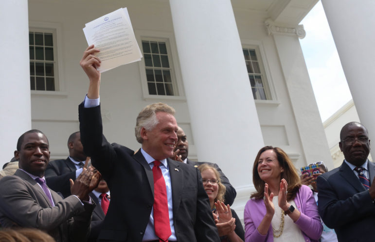 Virginia's Democratic Gov. Terry McAuliffe signed a bill restoring voting rights to all Virginia felons on April 22, 2016 in Richmond. The Virginia Supreme Court later struck it down. A News21 investigation found few efforts to expand voting rights to felons have been successful in recent years.