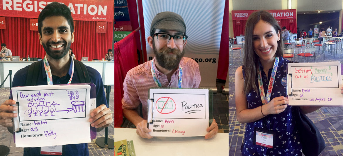 Millennials are photographed with hand-drawn signs illustrating their most important issues at The People's Summit in Chicago in June 2016.