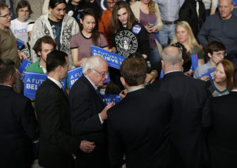 Democratic presidential candidate Bernie Sanders signs autographs for fans during a campaign rally at the KI Convention Center in downtown Green Bay, Wis. on April 4, 2016. Sanders is among the candidates whose campaigns owe communities in Wisconsin thousands of dollars for police protection in 2016, according to an investigation by the Center for Public Integrity.