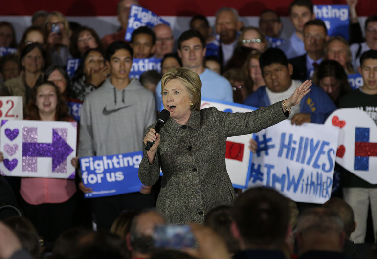 Democratic presidential candidate Hillary Clinton speaks during her campaign stop at the Riverside Ballroom in Green Bay, Wis. on March 29, 2016. Clinton is among the candidates whose campaigns owe communities in Wisconsin thousands of dollars for police protection in 2016, according to an investigation by the Center for Public Integrity.