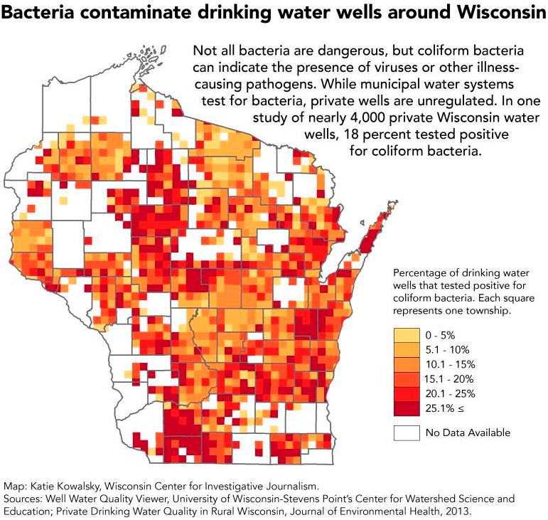 Bacteria contaminated drinking water wells around Wisconsin