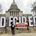 Standing near the Wisconsin State Capitol on Dec. 11, 2020, Madison ER nurse Kate Walton was among a dozen health care workers who criticized Wisconsin GOP lawmakers for holding a hearing discuss unfounded complaints about voter fraud — while not addressing fallout from the COVID-19 pandemic. SEIU Healthcare Wisconsin, a union, organized the gathering.